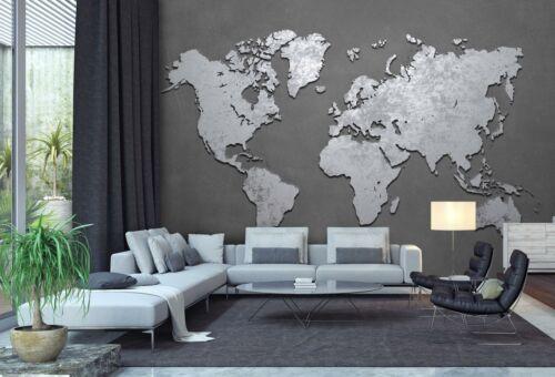 Tapete, Fototapete Welt-karte metallisch M 250 x 175 cm 5 Teile Fototapeten