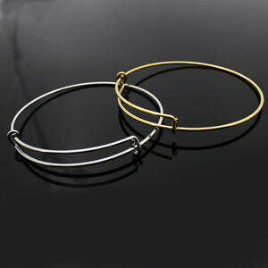Details About Women S Stackable Bangle Bracelets Stainless Steel Or Gold Plate Clic Charm