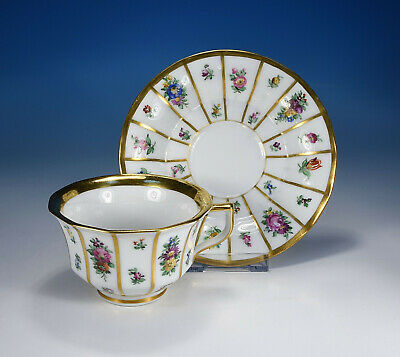 ANTICO SET TÈ TAZZA PIATTO PORCELLANA DALIA ORO BAVARIA SELTMANN THERESIA