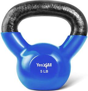 Yes4All 10-30Lbs Vinyl Coated Kettlebell Workout Cast Iron Kettlebells Weights