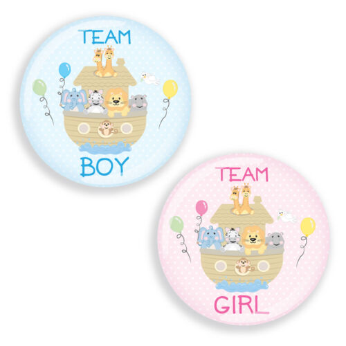 Gender Reveal Party Pin Badges for Baby Shower ALL ABOARD Noahs Ark