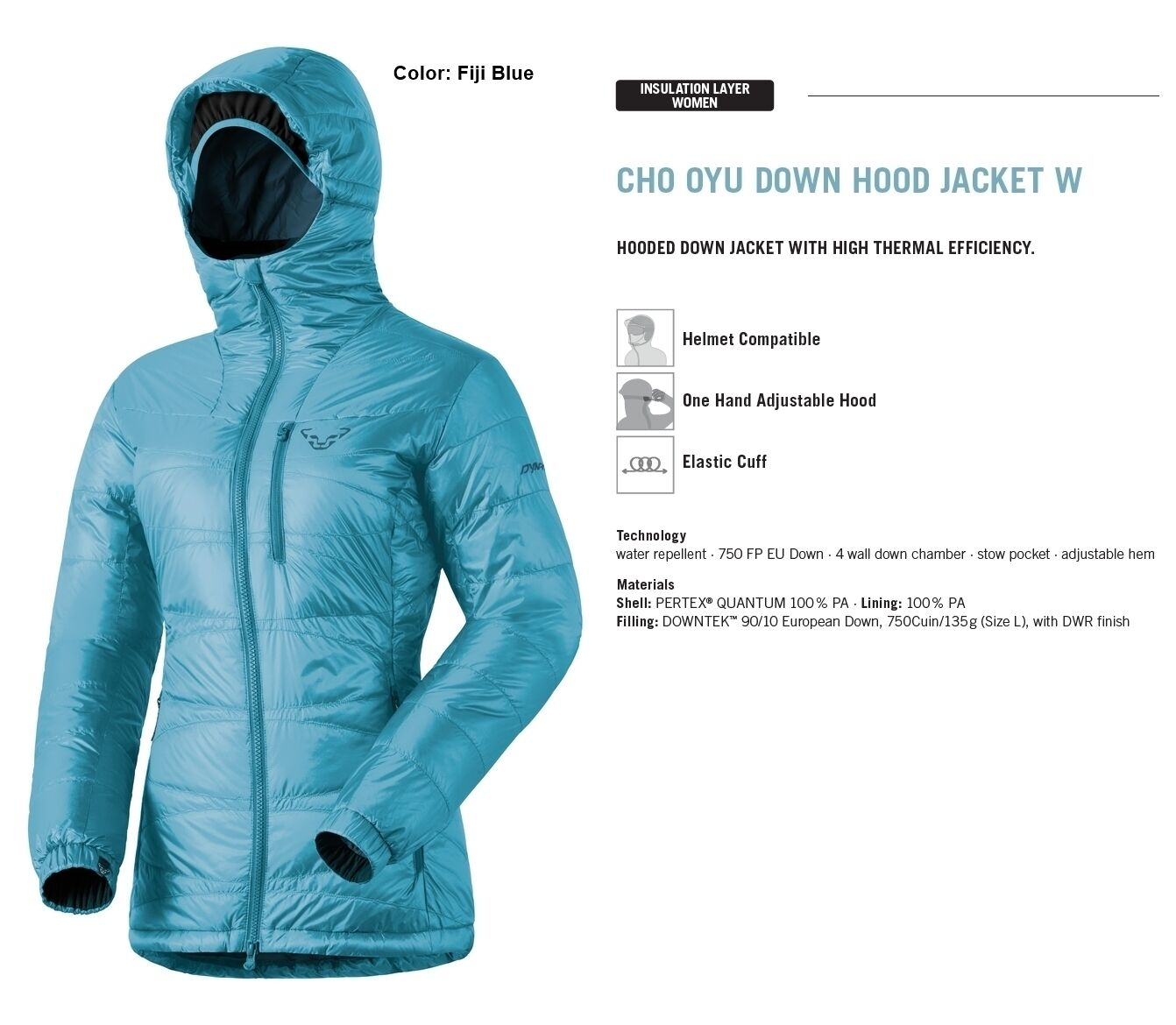 NEW Dynafit Cho Oyu Down Insulator Blau daSie Large Winter Ski Jacket Ret 320