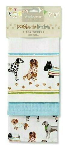 "3er-set vaisselle foulards /""Dogs in the kitchen/"" Cooksmart Angleterre Coton"
