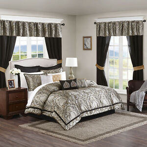 Beautiful-Gold-Black-Damask-Comforter-Window-Curtain-24-pcs-set-Cal-King-Queen