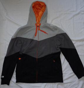 NOGI Mens Zip Up Hoody Hoodie - Gray Orange Black - BJJ UFC MMA Jiu Jitsu RARE!