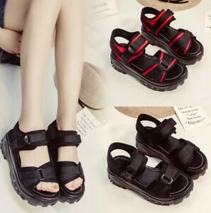 Details about Womens Flat Chunky Wedges Platform Sports Sandals Flatform Beach Peep Toe Shoes