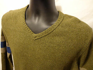0ef6cb15e8c Details about Mens Gap V-Neck Sweater Size S Green Cotton & Wool Blend Long  Sleeve