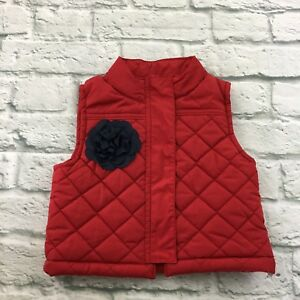 3d84f598498f OshKosh B gosh Puffer Vest Toddler Girls Size 18M Red Flower Quilted ...