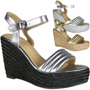 c45422f5609a Image is loading Womens-Ladies-Peeptoe-High-Heel-Wedge-Sandals-Platform-