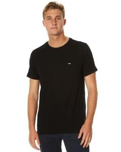 Size-M-Mens-Rip-Curl-PLAIN-POCKET-TEE-Crew-Neck-T-Shirts-New-CTETY1-Black