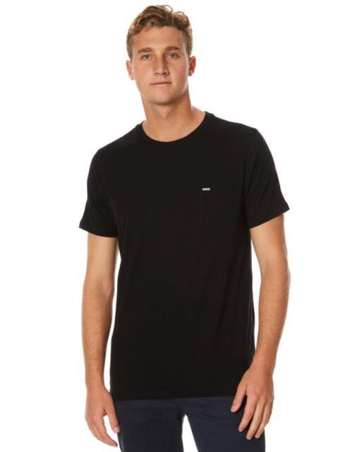 Size M Mens Rip Curl PLAIN POCKET TEE Crew Neck T Shirts New - CTETY1 Black