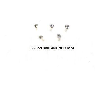 5 Orecchino Naso Piercing Nasino Argento 925 Brillantino 2 mm