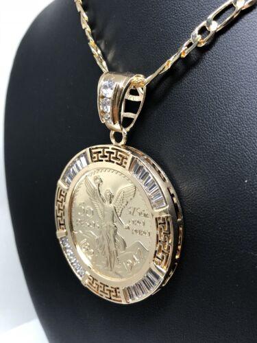 """Gold Pl Coin Centenario Mexicano Moneda 50 Pesos Pendant Chain CZ Oro Cadena 26"""""""