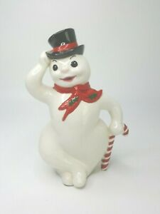 Vintage 1970s Atlantic Mold Ceramic Christmas Snowman Beautifully Hand Painted