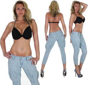 Pantalones-Vaqueros-De-Mujer-CHINOS-PUMP-Boyfriend-Capri-34xs-42xl-1c
