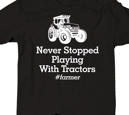 REAL MEN DRIVE TRACTORS T-SHIRT Cotton Funny Black Driving Gift Farm Farmer