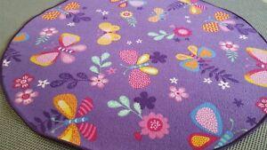 Details Zu Kinder Teppich Girls Schmetterling Madchen Lila Rund 195 Cm Spielteppich