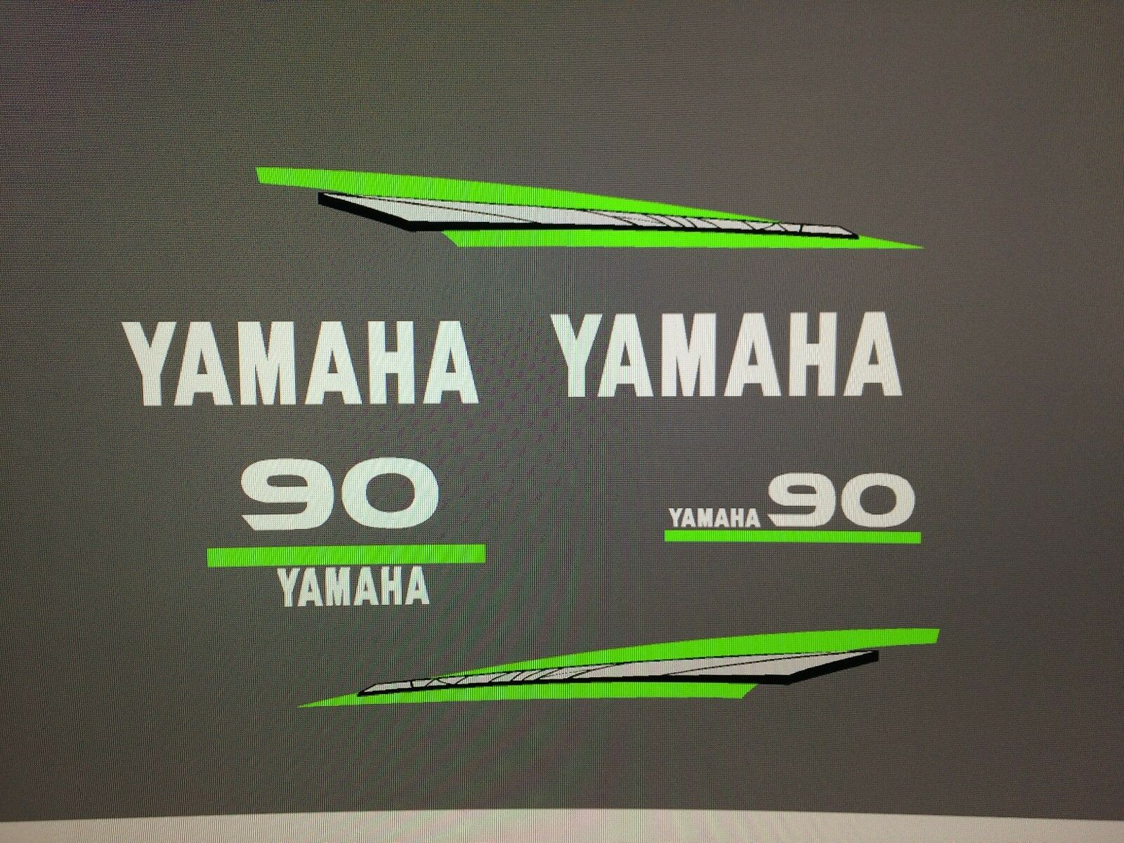 Yamaha 2-Stroke 20  - 90 hp Outboard Lime Green MARINE VINYL Decal Kit message hp  stadium giveaways