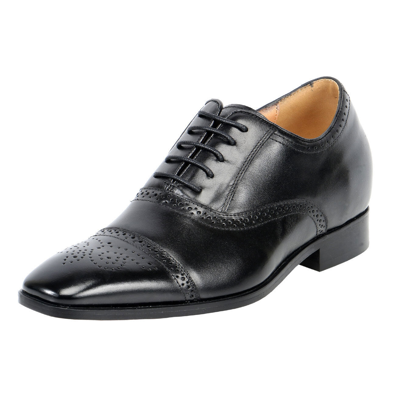 Uomo Leather Height Heels Formal Dress Shoes-2.8
