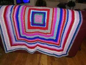 New Hand Made Crochet Blanket Multi Coloured Square 48 X 48 Inch Cottagecore