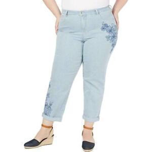 Style & Co. women plus size 18W Railroad blue curvy boyfriend jeans embroidered