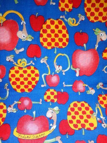 "Rare Cranston VIP fabric Lowly Worm apples blue 18x22/"" Richard Scarry ships free"