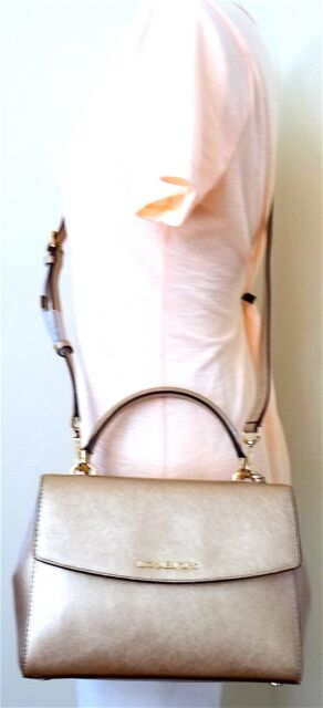 Michael Kors Ava Small Top Handle Saffiano Satchel Leather Pale Gold