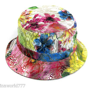 Flower Floral Bucket hat Bling glitter Boonie cap Pastel drawing ... d0047941143
