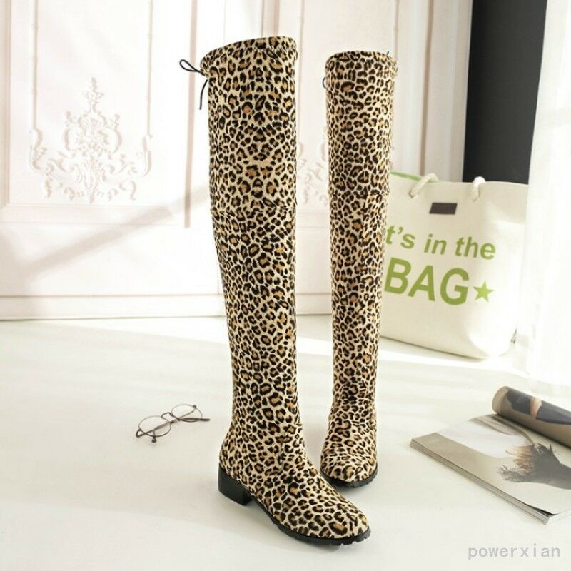 Riding Winter Leopards Printed Knee High Boots Low Heels Warm Shoes Lace Up Hot
