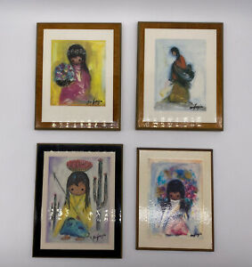 Degrazia Signed Laminated Wall Plaques Set Of 4 Native American Art Vintage
