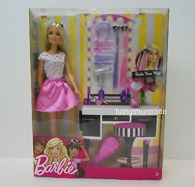 Mattel Barbie Style Your Way Fashion Doll with Hair Accessories