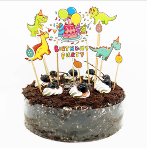 Image Is Loading Dinosaur Cupcake Toppers Animal Birthday Cake Owl