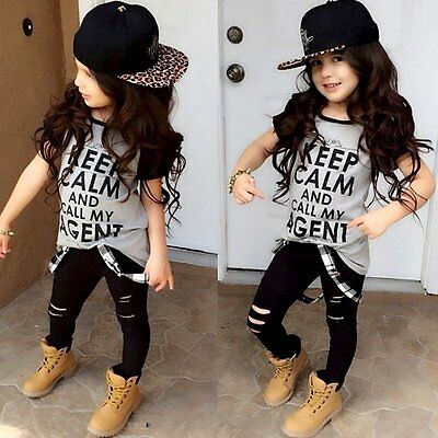 2pcs Toddler Kids Baby Girls Outfit T-shirt Tops+Pants Leggings Clothes Set 1-6Y