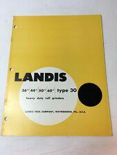 Landis Type 30 Heavy Duty Roll Grinders Machine Shop Brochure Advertisement V 60