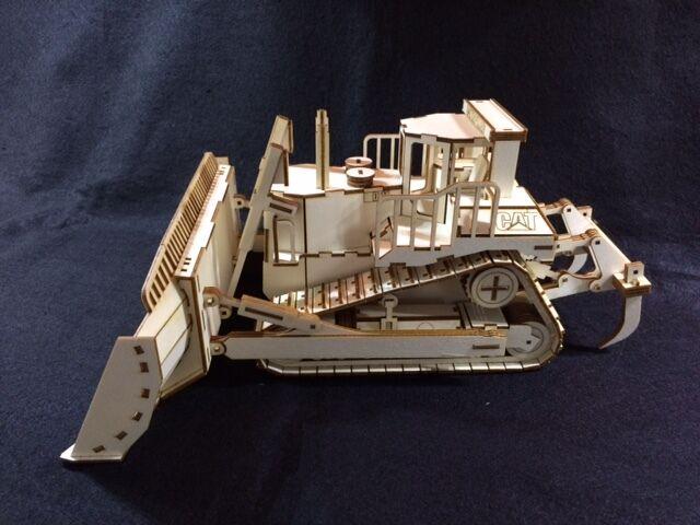 Laser Cut Wooden Cat Bulldozer 3D Model Puzzle Kit