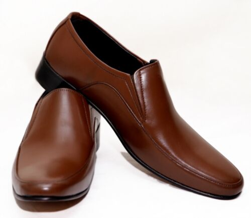 MEN GENUINE LEATHER HANDMADE COMFORTABLE BUSINESS DRESS SLIP-ON SHOES
