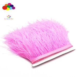 Rose-vif-Ostrich-feather-Fringe-Ribbon-Trim-prix-pour-10-m-A-faire-soi-meme-Craft