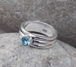 Piedra-de-topacio-azul-solido-de-plata-esterlina-925-Anillo-Tamano-del-anillo-de-meditacion-Spinner