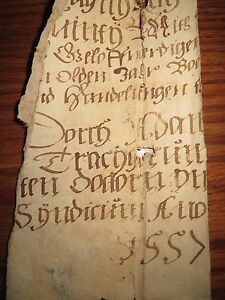 16th Century very interesting manuscript Signed and dated 1557 Fragment Unique
