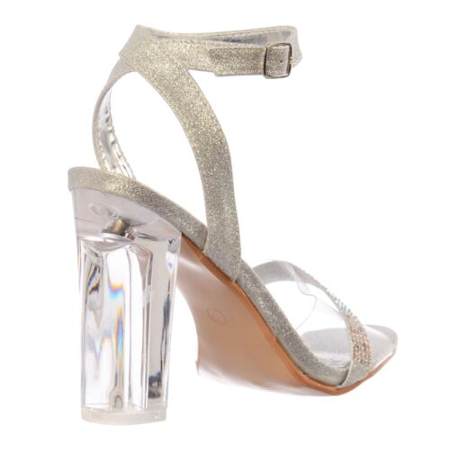 Womens Diamante Strappy Perspex Mid  Block Clear Heel Party Sandal Shoe Size