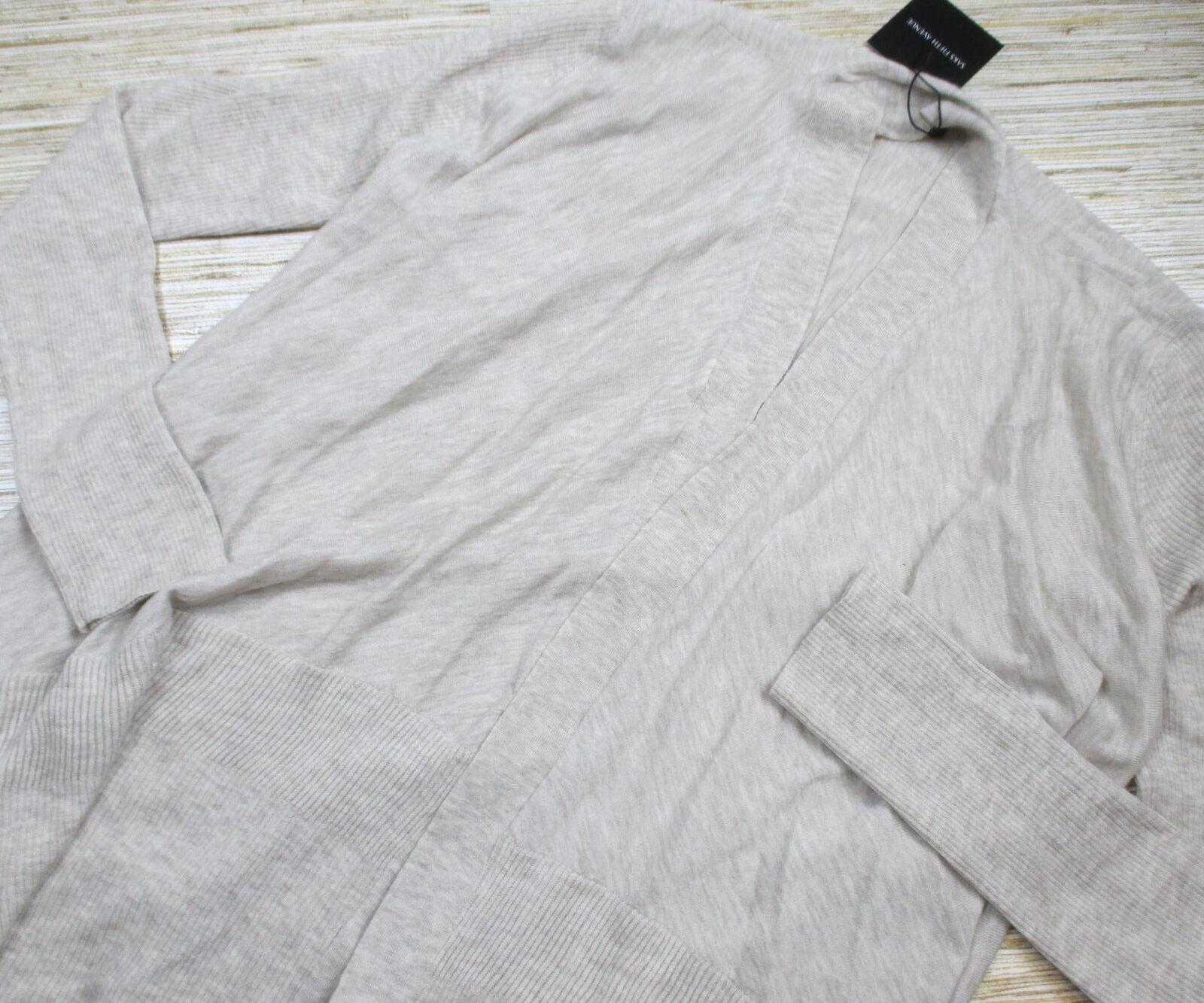 BB15 Saks Fifth Avenue wool blend open front cardigan sweater OATMEAL size S