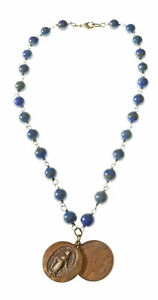 Blue-Lapis-Necklace-with-2-piece-Madonna-charm-19-inche-USA
