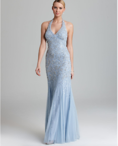 0141751728f Adrianna Papell Slate Baby Blue Halter Gown V Neck Beaded Silver ...