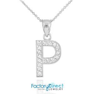 10k 14k white gold letter p diamond initial pendant necklace ebay image is loading 10k 14k white gold letter 034 p 034 mozeypictures Choice Image