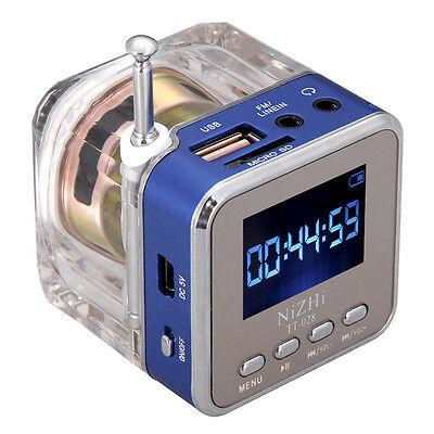 Digital Mini Speaker Music MP3 MP4 Player Micro SD TF USB Disk Blue