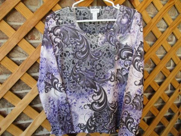 Chico's Zenergy Size 0 Top Blouse Pullover Ok for Size M Bling EC