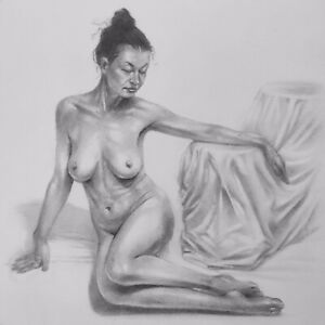 """Nude Study #44 - 5x5"""" - Original Graphite Drawing on 150gsm paper (not a print)"""