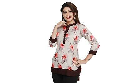 Top Women Fashion Casual Indian Kurti Tunic Short Kurta Printed Shirt Dress 59B