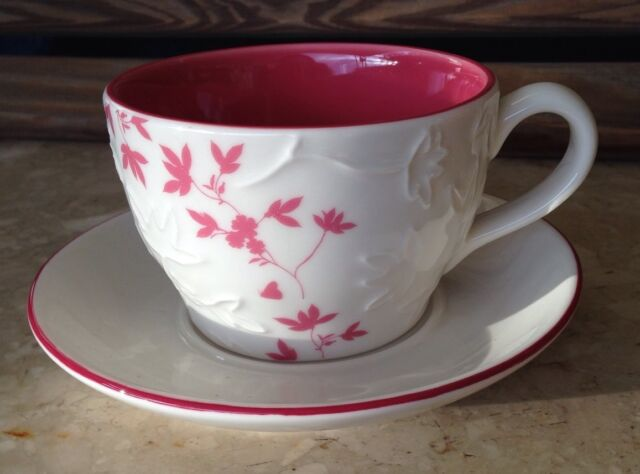 Starbucks Coffee Tea Cup Saucer White Pink 3D Floral 9 Oz 2006 Set Flower