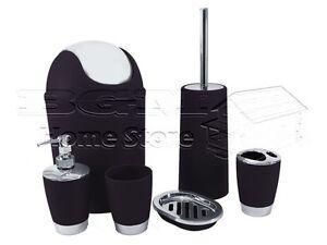 Salle de Bains Set Accessoire Gobelet Brosse de Toilette Lotion Poubelle Noir 6pc  </span>